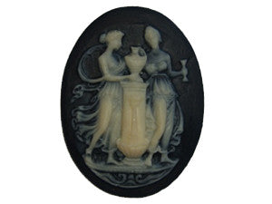 40x30mm Black & Ivory Cameo - Urn