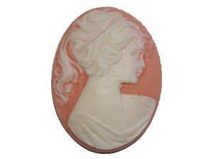 40x30mm Peach & Ivory Cameo