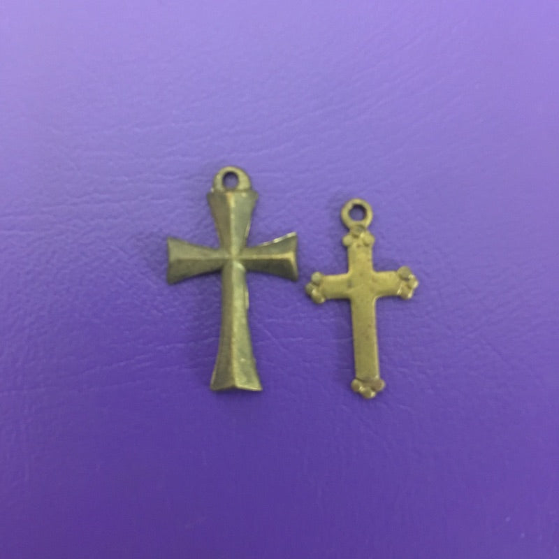 Cross Charm Brass - 2 Styles Available