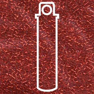 # 602 DBR Delica 11/0 SILVERLINED RED DYED - 7.2 gram Tube