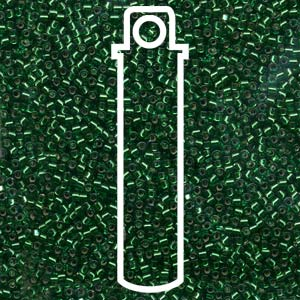 # 605 DBR Delica 11/0 SILVERLINED EMERALD GREEN DYED - 7.2 gram Tube