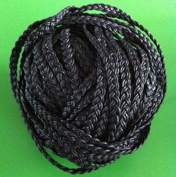 Flat Plaited 6x2mm Leather Cord - Black & Brown