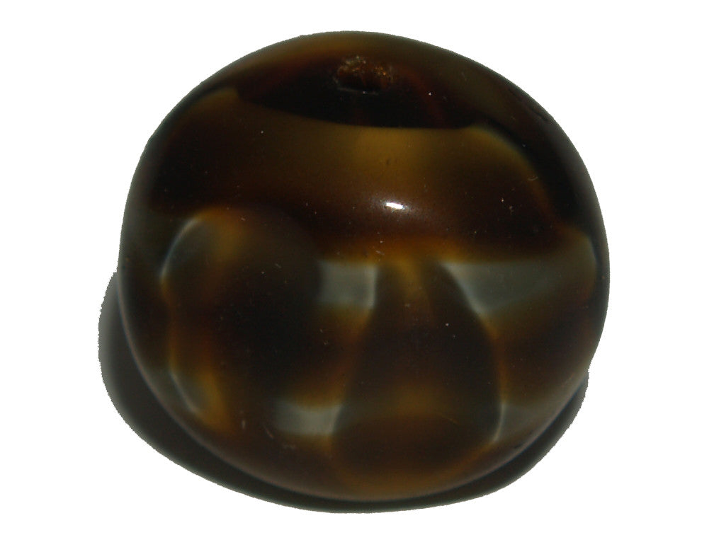 Dark Brown Swirl Rounded 15mm Nugget Qty: 10 bead
