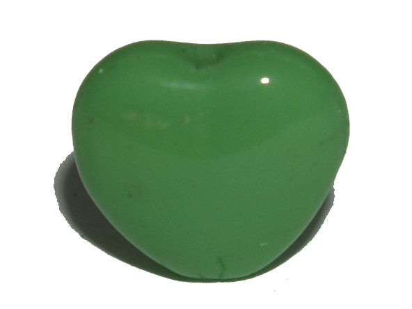 Apple Green Opaque 7mm Centre Drilled Heart Qty: 50 beads