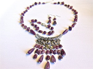 Gemstone Look Necklace/Bracelet/Earrings Set - 5 colours