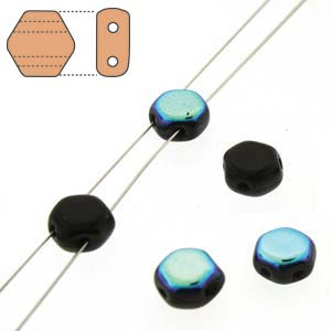 Honeycomb 2-hole 6mm - Jet AB - Qty: 1 Strand
