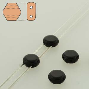 Honeycomb 2-hole 6mm - Jet - Qty: 1 Strand