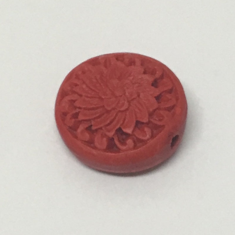 Coin Red Cinnabar Bead Qty: 2