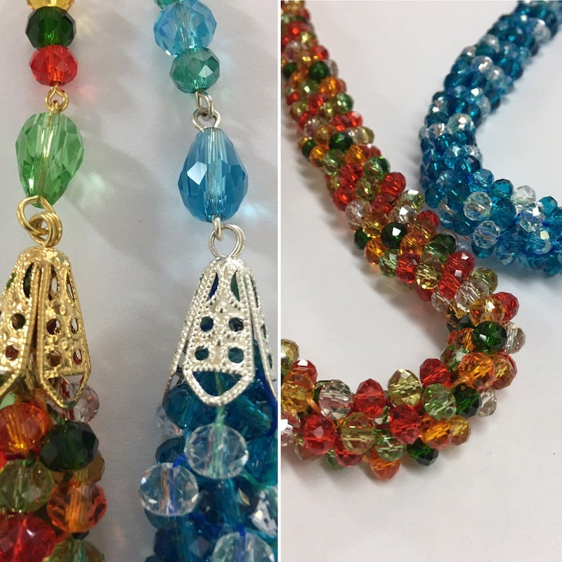 Kumihimo Necklace & Bracelet Set - Chinese Rondelle Beads