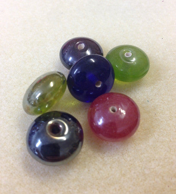 8x14mm Button Indian Glass Bead - 5 colours available