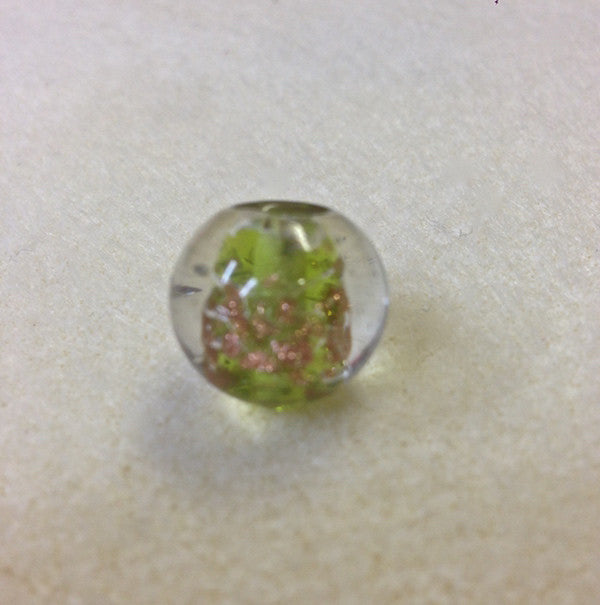10mm Round Clear, Light Green w. Foil Qty: 10 - Bead Shack