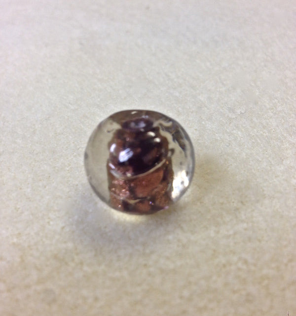 14mm Round Clear, Purple w. Foil Qty: 10