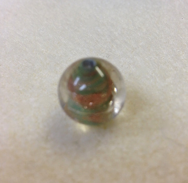 14mm Round Clear, Light Green w. Foil Qty: 10