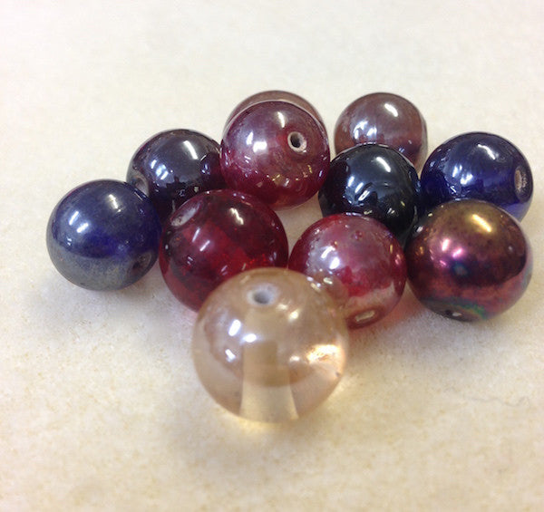 10mm Round Indian Glass Bead (Qty: 10) - 5 colours available
