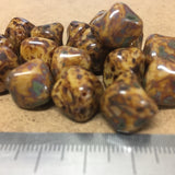 15x13mm Brown Picasso Nugget Bead - Vintage