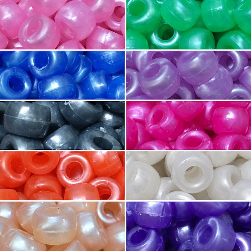 9mm Pony Beads - Pearlised - 10 Colours
