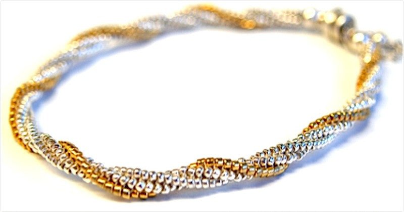 Sterling & 24kt Gold Twist Bracelet Pattern