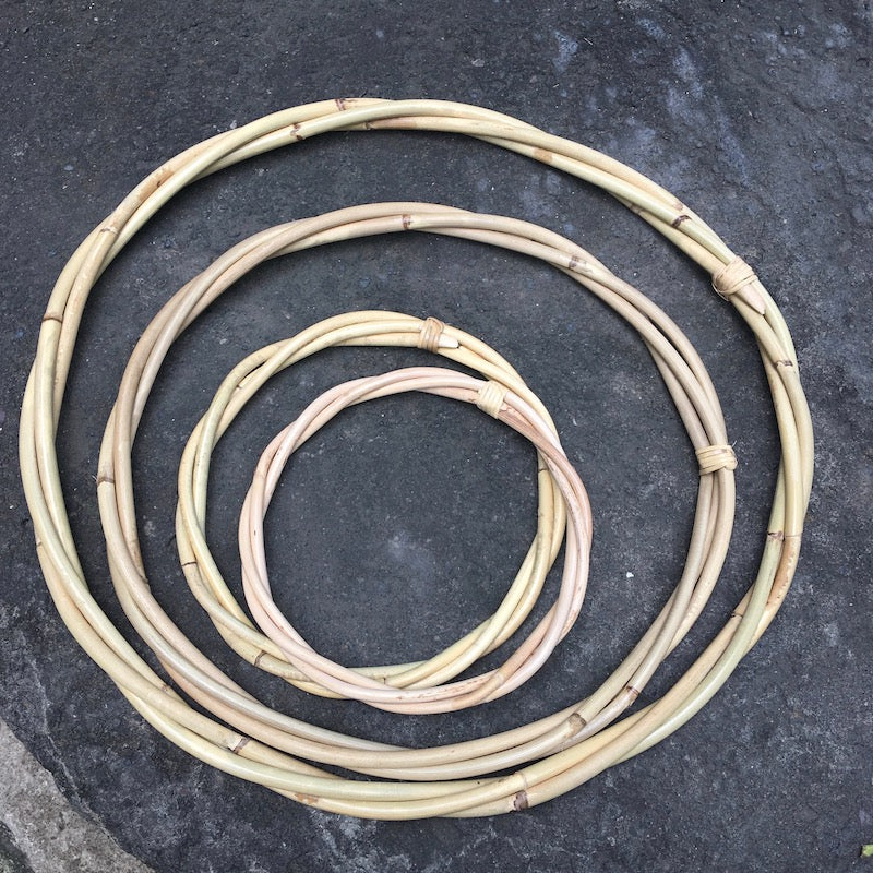 Rattan Twisted Woven Hoops -3 sizes (Lightly Lacquered w. wrapped join)