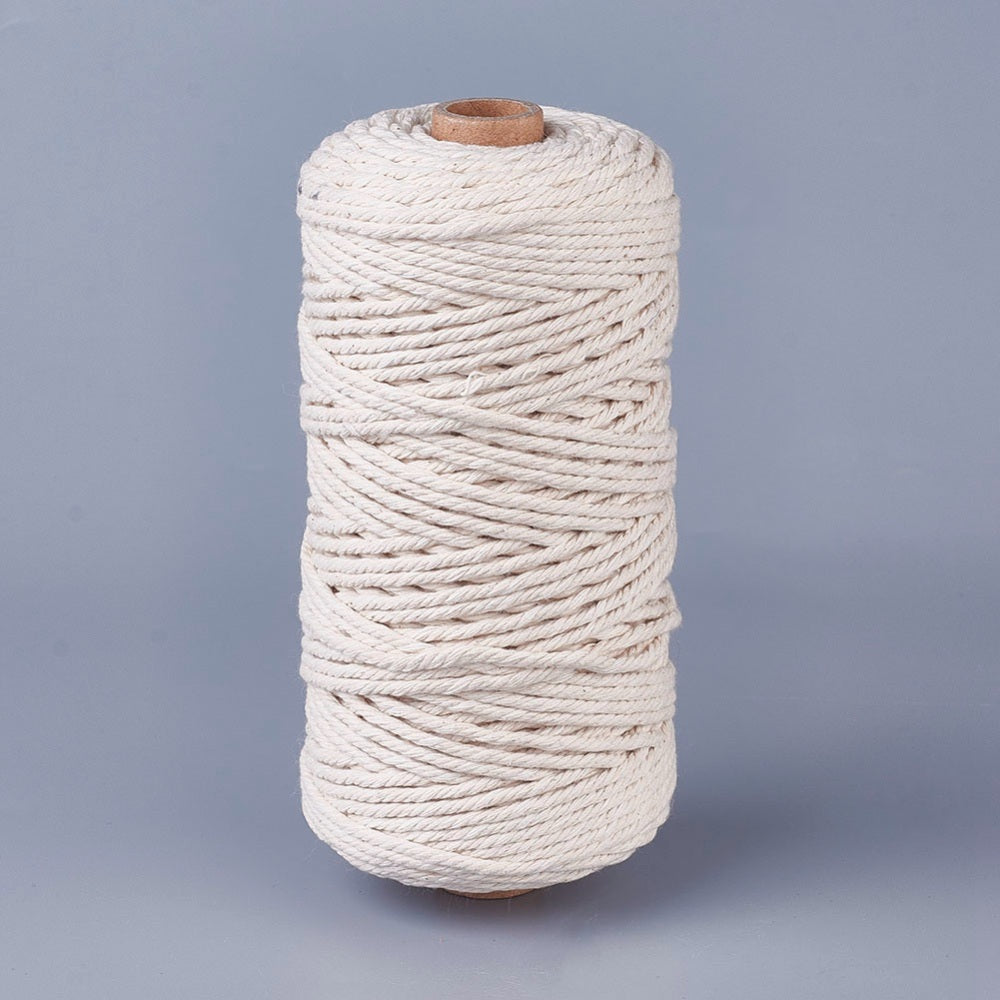 3mm Natural Cotton Rope - Natural - 100m Spool