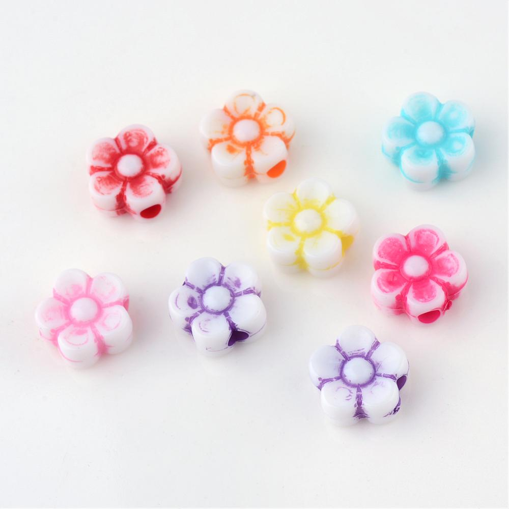 Coloured Flower Beads - Qty: 100
