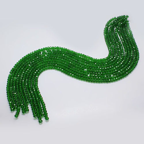 Christmas Green - Chinese Crystal Rondelle (Abacus) Bead Strands - 3 sizes available