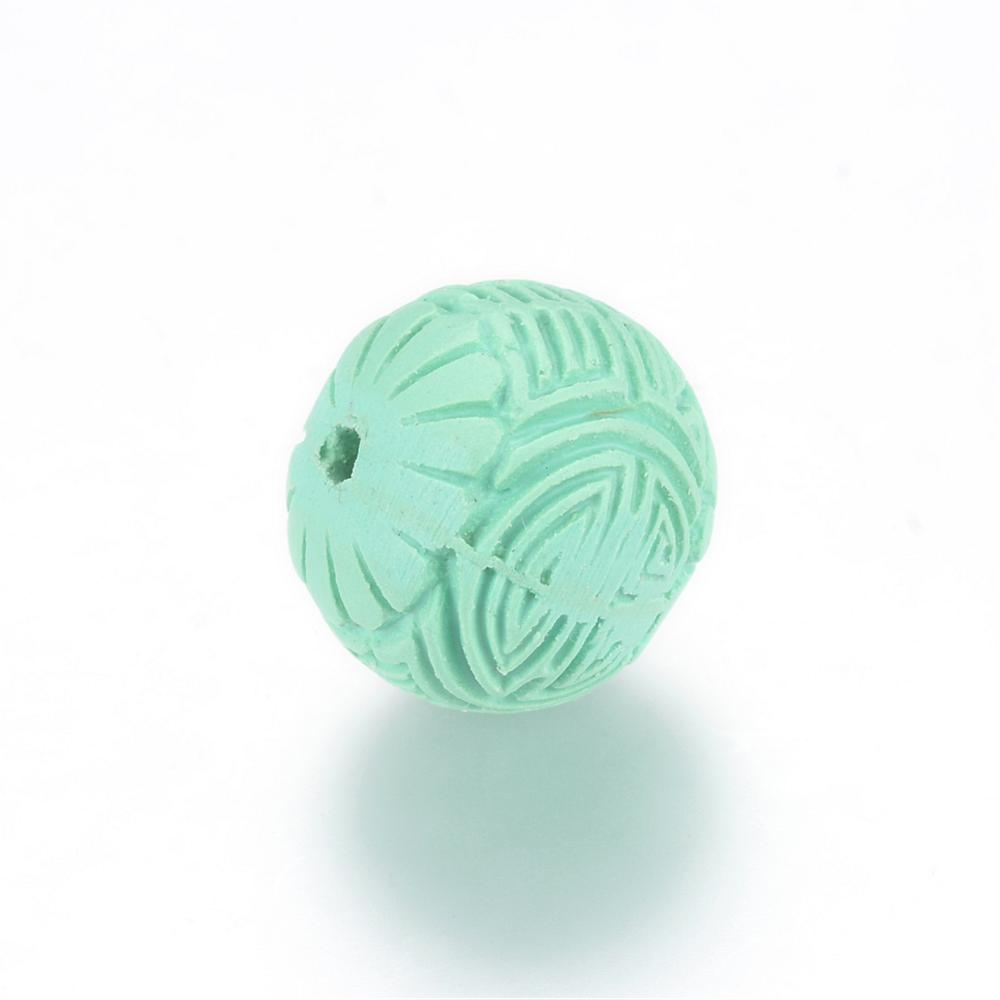 Round Cinnabar Bead - Qty: 2 - Light Green