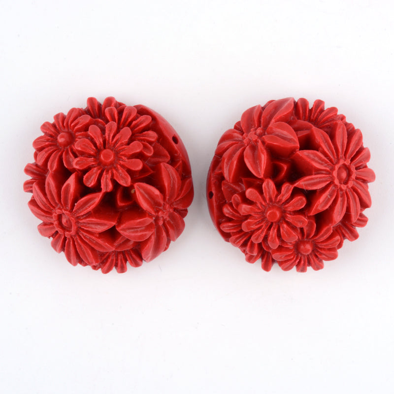 Floral Joiner Cinnabar Bead - Qty: 1