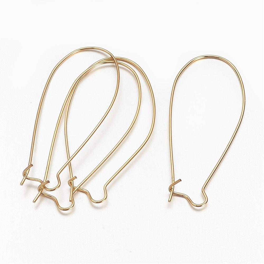 43mm Kidney Ear Wires (Qty: 10) - Gold