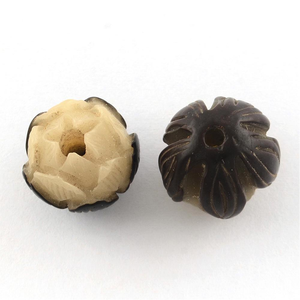 Carved Flower - Bodhi Beads - Qty: 2
