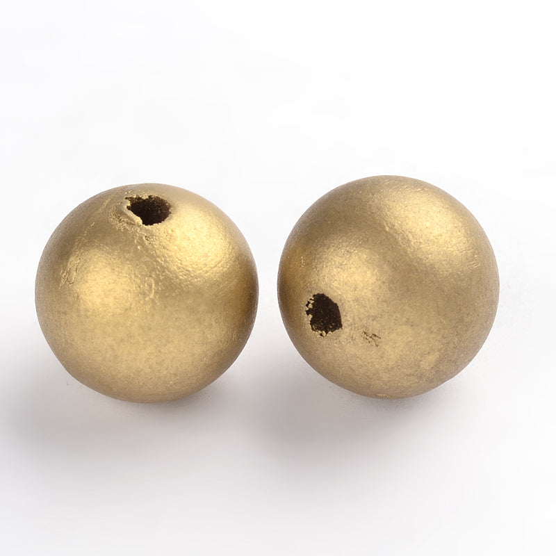25mm Wood Bead w. 5mm Hole - GOLD (Qty: 25)