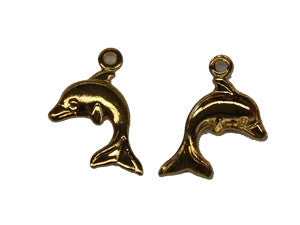 Gold Dolphin Charm w. Loop Qty: 50