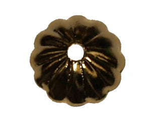 Gold Fluted 8mm Bead Cap Qty: 50
