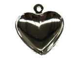 Silver Medium Puffy Heart Charm w. Loop Qty: 50