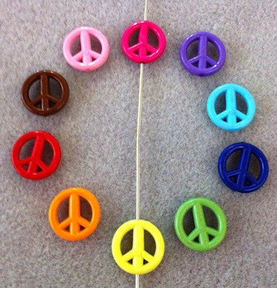 Flat Peace Sign Beads - Qty: 20