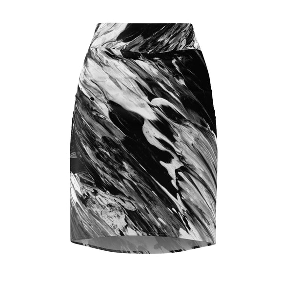 Women's Black & White Classic Pencil Skirt