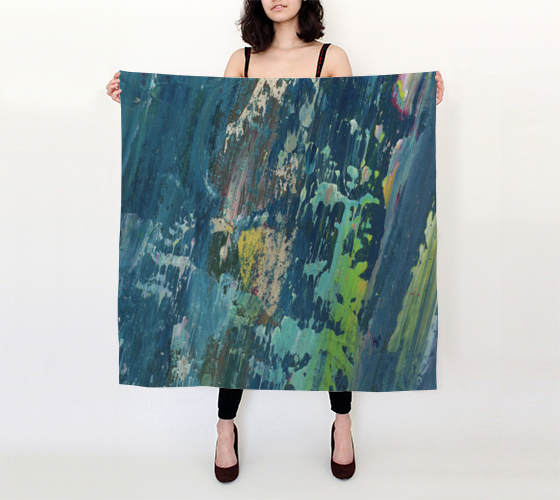 Blue Fragment Big silk Scarf