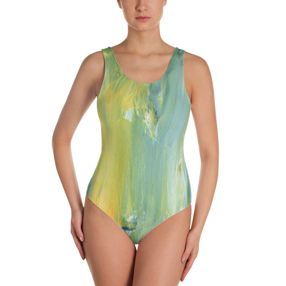 Summer Blue One-piece Swimsuit