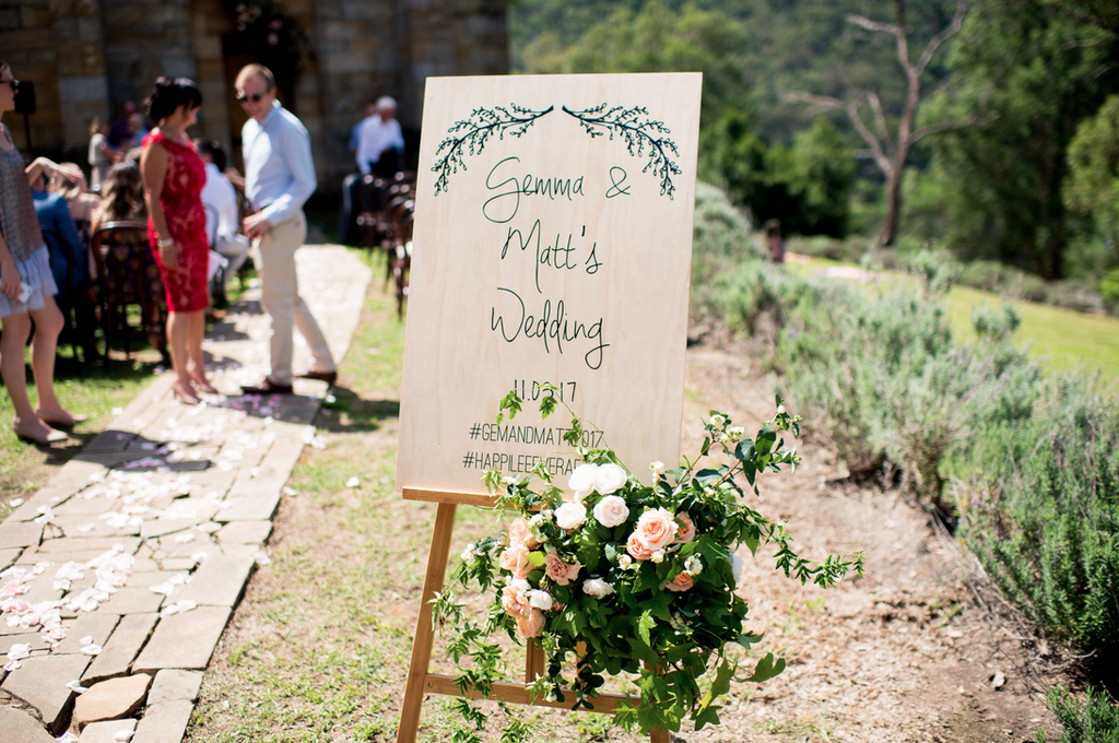 Welcome Sign decorated with florals