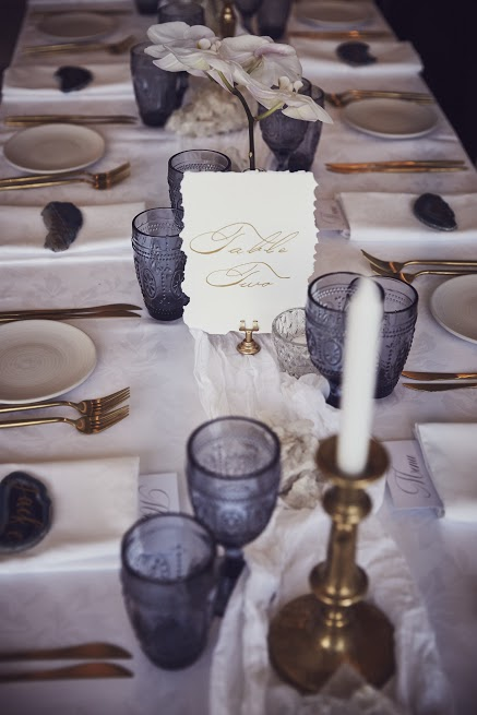 Blue and white wedding guest table