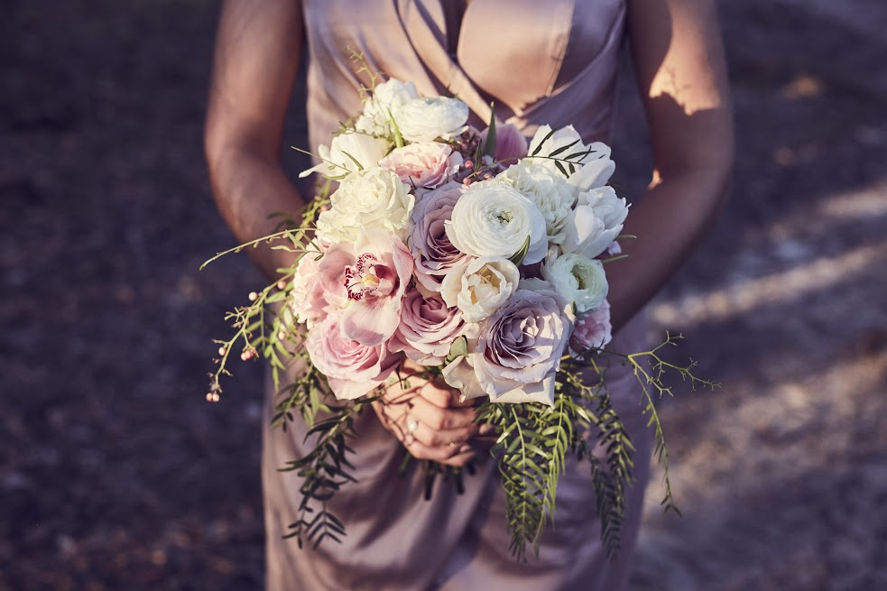Bridesmaid bouquet in soft pinks and whites
