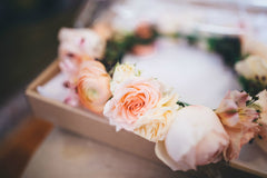 Peach flower crown for Bride