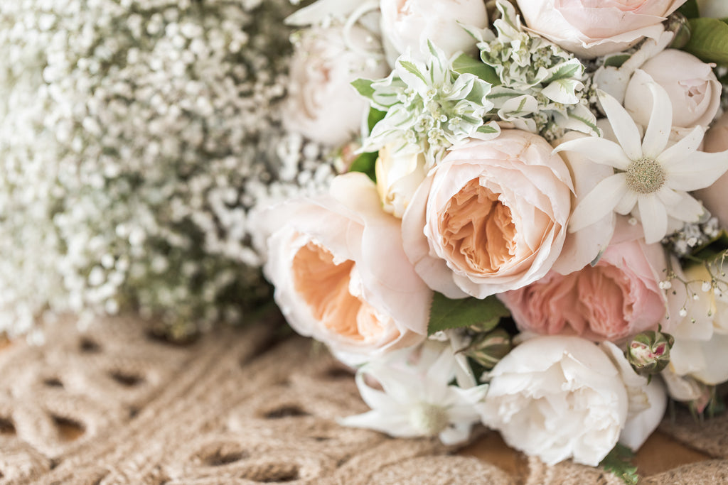 Bridal bouquet in soft peach and whites