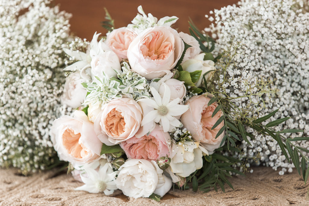 Bridal bouquet in whites and soft peach