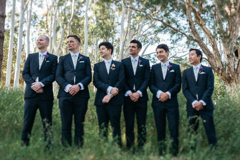 Groom and Groomsmen in their rustic buttonholes.