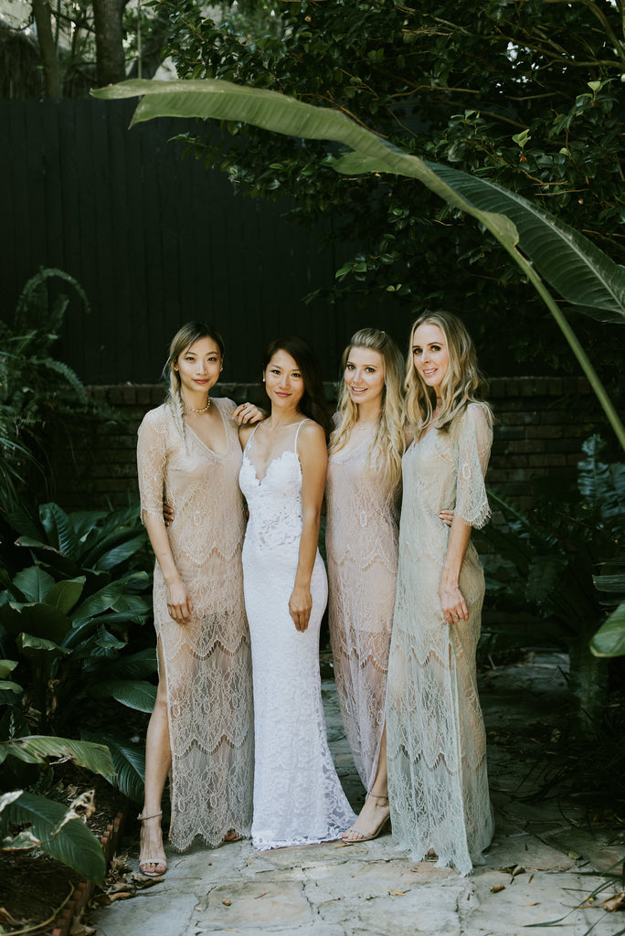 Bride and Bridesmaid in Grace Loves Lace dresses