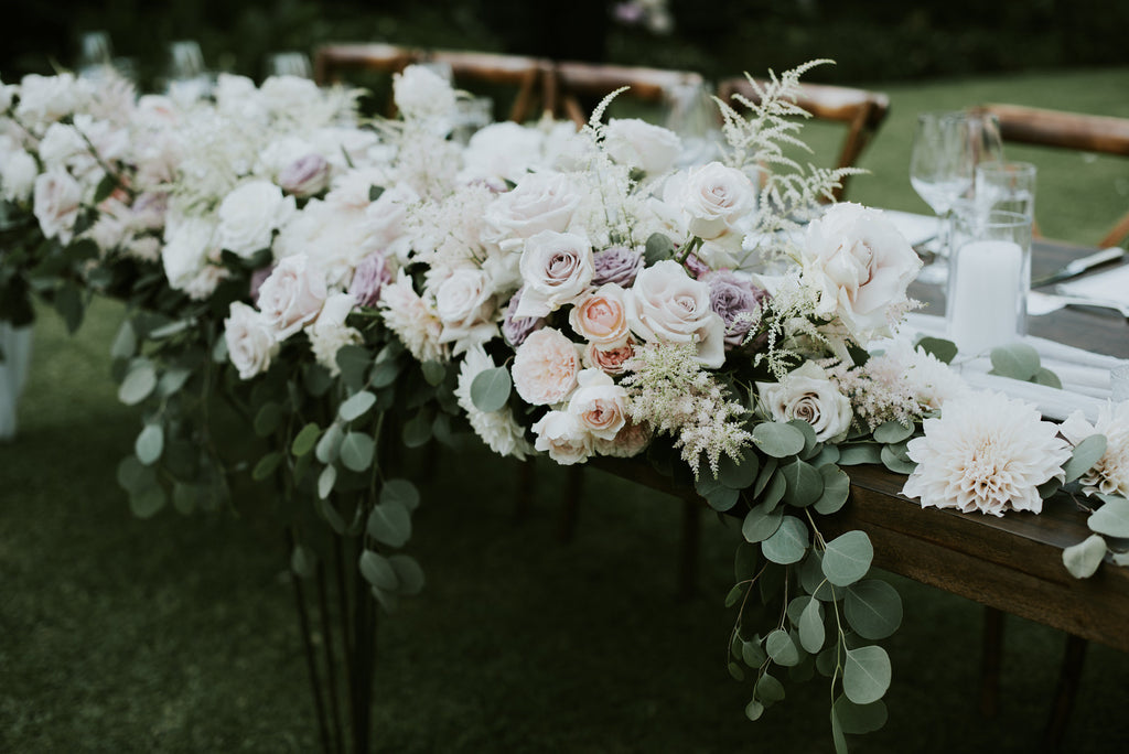 Bridal table with pastel florals