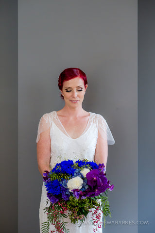 Bright blues and purples for the Bridal bouquet.