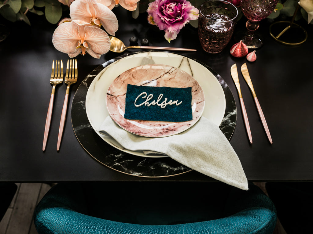 Place setting for guest table wedding reception