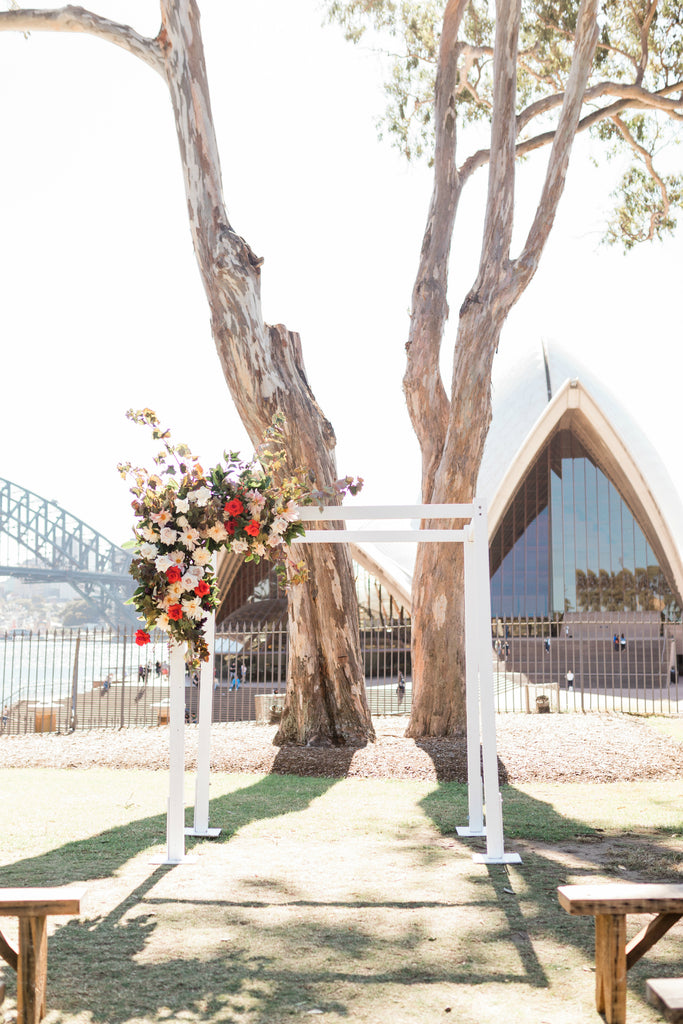 Wedding ceremony flowers at Bennelong Lawn