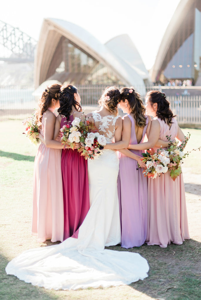 Bride and Bridesmaids with their wedding bouquets